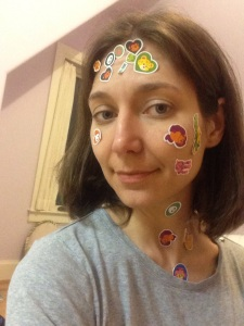 I am so grateful to be able to get down on the floor to play with my kids again. And I make an excellent sticker model!!
